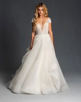 blush hayley paige cap sleeves deep v a line wedding dress spring 2020
