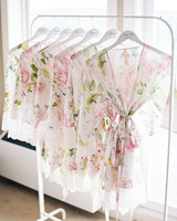 floral robes hanging on clothing rack