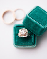Engagement Ring in Green Plush Ring Box