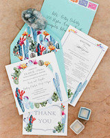 Blue Cactus Wedding Invitation Suite