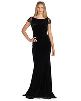 black cap sleeve gown