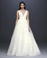 davids bridal galina signature fall 2019 ball gown plunging v neck sleeveless beaded belt sheer overlay