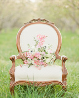 dogwood bouquet on chair