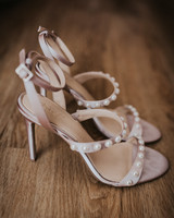 pearl adorned open toe stilettos