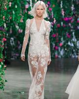Galia Lahav Long Sleeves Sheer Sheath Wedding Dress Fall 2018