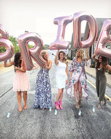 bridal shower ideas pink letter balloons bride