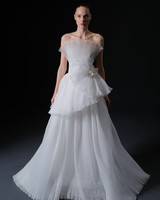strapless crimped fabric floral applique tiered a-line wedding dress Isabelle Armstrong Spring 2020