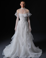 sheer high neck flutter sleeve lace gloves vertical ruffles a-line wedding dress Isabelle Armstrong Spring 2020