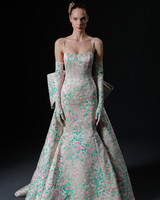 pink and green floral print spaghetti strap large back bow trumpet wedding dress Isabelle Armstrong Spring 2020