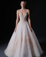 thick spaghetti strap deep v-neck embroidered lace a-line wedding dress Isabelle Armstrong Spring 2020