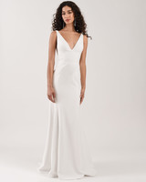 spaghetti strap deep v-neck train semi trumpet wedding dress Jenny by Jenny Yoo Spring 2020