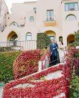 Italian wedding processional outdoors