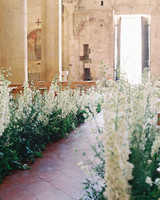 delphinium lined wedding ceremony church aisle