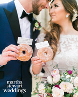 jessica and kris bryant holding donuts