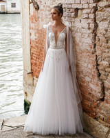 v-neck a-line julie vino wedding dress spring2018