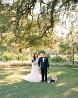 texas wedding dog tux couple under tree