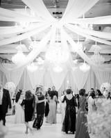 wedding guests dancing