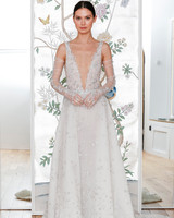 lee petra grebenau sleeveless plunging neckline wedding dress with sheer arm length gloves spring 2020