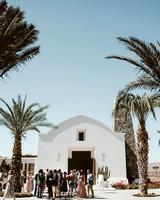 lisa sam mexico wedding chapel palm trees guests