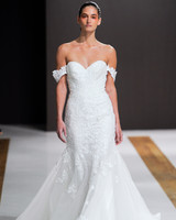 mark zunino wedding dress fall 2018 off the shoulder trumpet sweetheart lace
