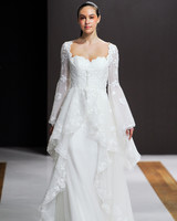 mark zunino wedding dress fall 2018 long bell sleeves ruffle lace