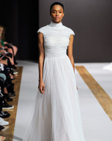 mark zunino wedding dress fall 2018 rouched high neck cap sleeves tulle