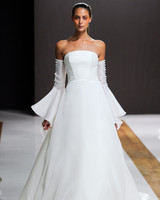 mark zunino wedding dress fall 2018 strapless a-line buttons sleeves