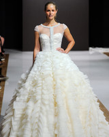 mark zunino wedding dress fall 2018 ruffles ball gown cap sleeves illusion neckline