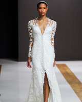 mark zunino wedding dress fall 2018 deep v long sleeves buttons slit