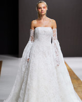 mark zunino wedding dress fall 2018 strapless lace bell sleeves