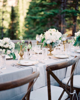 Elegant White Reception Table with Gold Details