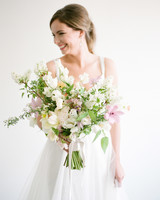 Light Purple, Yellow, and White Wedding Bouquet