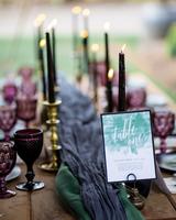modern wedding centerpiece of candles
