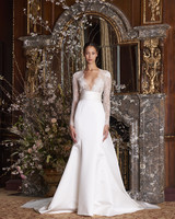 monique lhuillier wedding dress spring 2019 long sleeve v-neck
