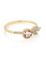 gold band opal leaf engagement ring