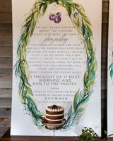 wedding decor quote backdrop cake