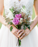 small bouquet with garden roses and seeded eucalyptus