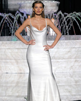 pronovias spaghetti strap wedding dress spring 2018