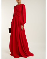 long sleeve red Lace and Crepe maxi gown