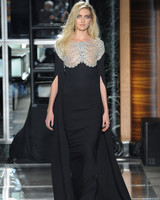 reem acra spring 2018 black wedding dress with embellishment and cape