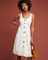 white Button-Down knee length Dress
