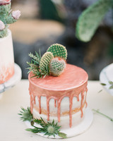 rose gold wedding ideas wedding cake with cacti
