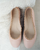 scalloped wedding decor bride blush pink flats