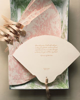 scalloped wedding decor fan stationary pink