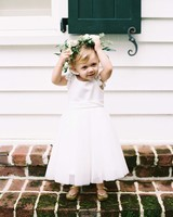 Flower Girl with Green and White Flower Crown