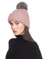 pink beanie with grey pom