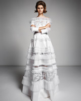 viktor rolf marriage fall 2019 long sleeve boatneck a-line gown with ruffles and lace
