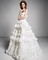 viktor rolf marriage fall 2019 strapless belted ballgown with floral applique