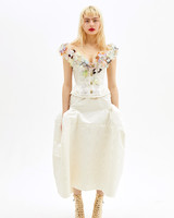 vivienne westwood spring 2019 wedding dress with drop waist and colorful appliqués