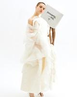 vivienne westwood spring 2019 sheath wedding dress with billowy fabric